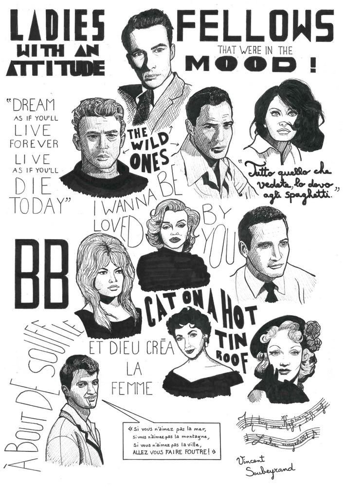 Marlene Dietrich, Jean-Paul Belmondo, Paul Newman, Brigitte Bardot, Marilyn Monroe, Sophia Loren, Marlon Brando, James Dean, Montgomery Clift, Elizabeth Taylor by 336